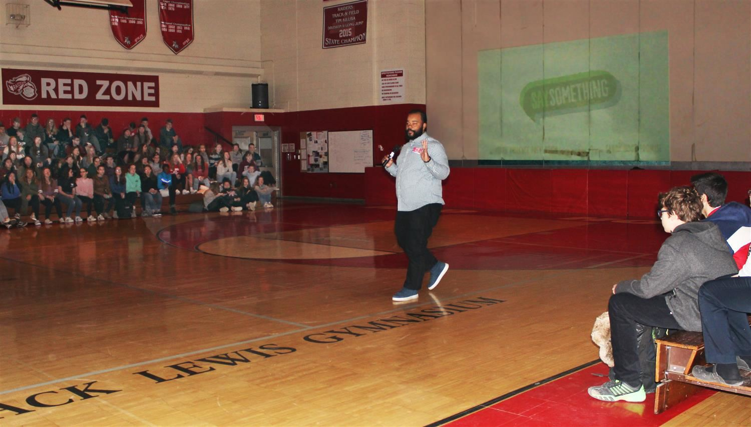 Sandy Hook Promise Presenter speaks to Red Hook High School students.